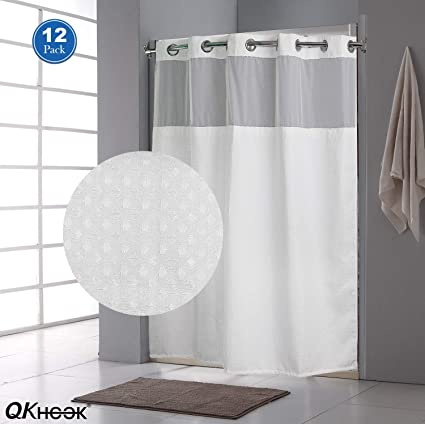 QKHOOK Hookless Shower Curtain With Snap In Liner 12 Packs 71x74 Inches Mildew Resistant Fabric Waffle