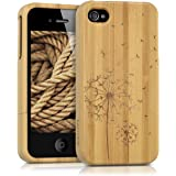 kwmobile Hülle für Apple iPhone 4 / 4S - Bambusholz Case Handy Schutzhülle - Hardcase Cover Pusteblume Design Hellbraun