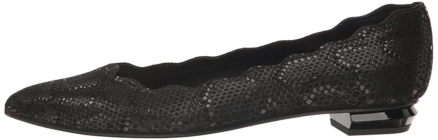 French Sole FS/NY Women's Tequila Pointed-Toe Flat B01MY9IPPR 9 B(M) US|Black Iridescent Snake