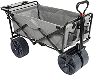 MacSports Collapsible Folding Outdoor Beach Wagon with Side Table, Perfect for Camping, Concerts, Sporting Events, The Beach, and More - Light Gray
