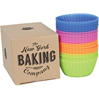 """NY Baking Co. Silicone Baking Cups, 2.8"""" Reusable Cupcake Liners, Stand Alone Pan, BPA Free, Non Stick Individual Molds…"""