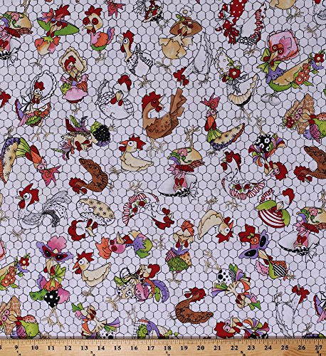 (Cotton Fancy Chickens Roosters Poultry Chicken Wire Eggs Farm Animals Birds Coopers White Cotton Fabric Print (692-224))
