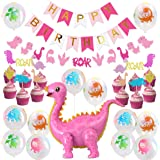 Girls Dinosaur Party Decorations Pink Dinosaur Standing Balloons Cupcake Toppers Garland Banner for Baby Girl 1st…
