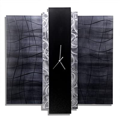 Statements2000 Black & Silver Abstract Functional Art - Modern Wall Clock - Contemporary Timepiece - Time