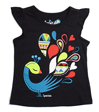 2793965b4 Sprockets Little Toddler Girls' Black Peacock Tee Shirt (2T-4T) (2T. Roll  over image to zoom in