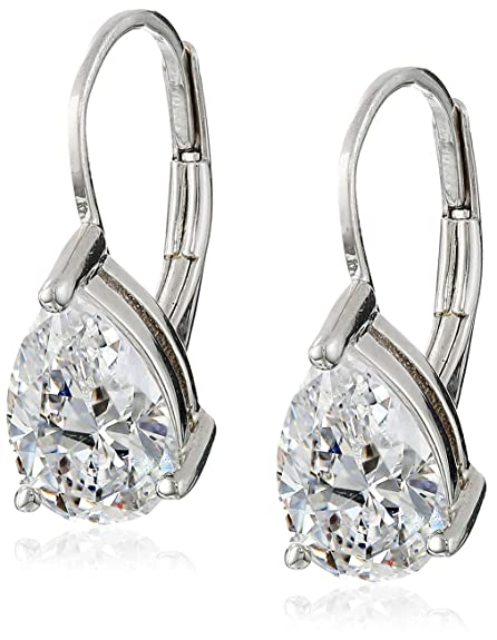 7cbd5c91e94a Amazon.com  Platinum Plated Sterling Silver Teardrop Cubic Zirconia Earrings  (4 cttw)  Jewelry