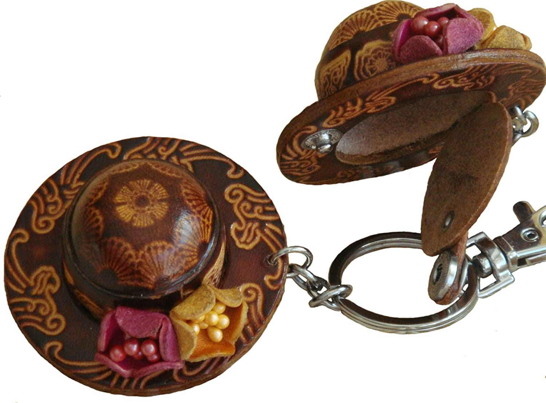 A Pair of Genuine Leather Keychain/bag-charm, Stylish Straw Hat Shape, Darkbrown
