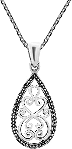 Jewelry Trends Sterling Silver Teardrop Twist Pendant with 18 Inch Box Chain Necklace