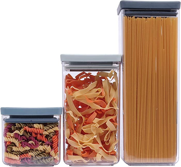 3 Pieces Food Storage Container Set for Kitchen, Pantry and Rack Organization - Ideal for Cereal, Spaghetti, Nut , Coffee , Sugar , Pasta & Flour Plastic Containers Set with vacuum Lid - BPA Free