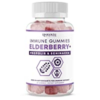 Havasu Nutrition Elderberry Gummies with Propolis + Echinacea Extract for Immune Support; Relief of Cold & Flu; 60 Vegetarian Gummies for Adults and Kids