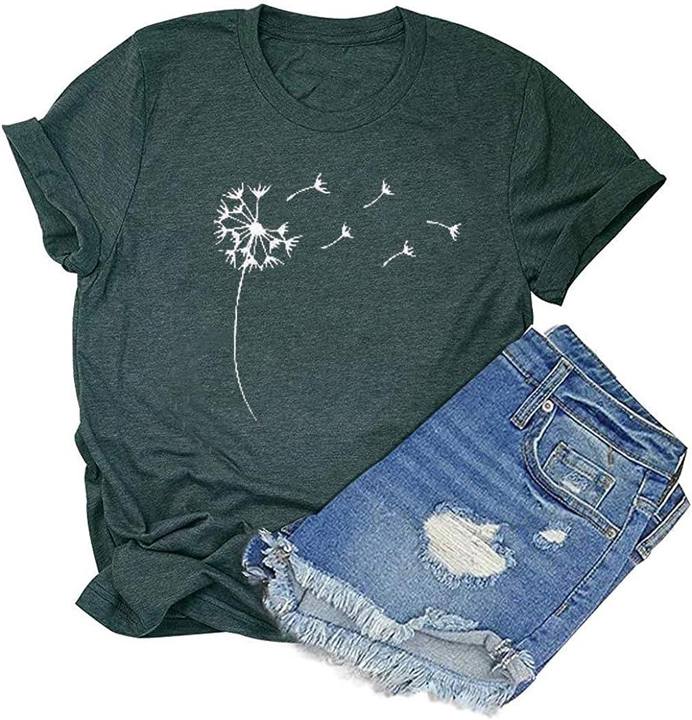 Dandelion Shirt Women Make A Wish Shirt Cute Graphic Nature Tee Shirts Summer Short Sleeve Faith Tshirts