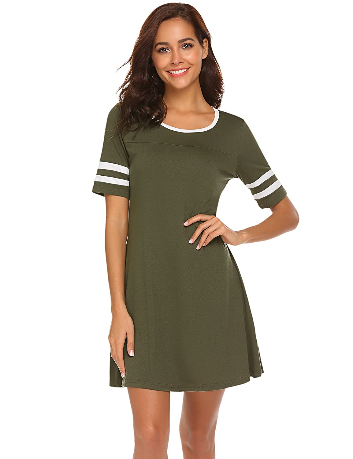 Ours Womens Summer Casual Stripes Short Sleeve Swing T Shirt Dress