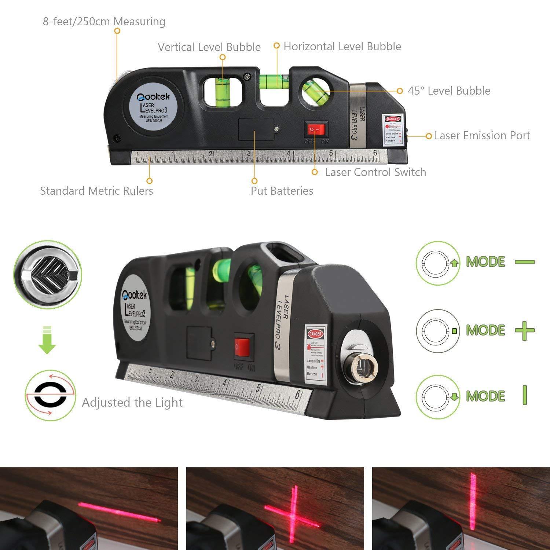 Qooltek Multipurpose Laser Level laser measure Line 8ft+ Measure Tape Ruler Adjusted Standard and Metric Rulers