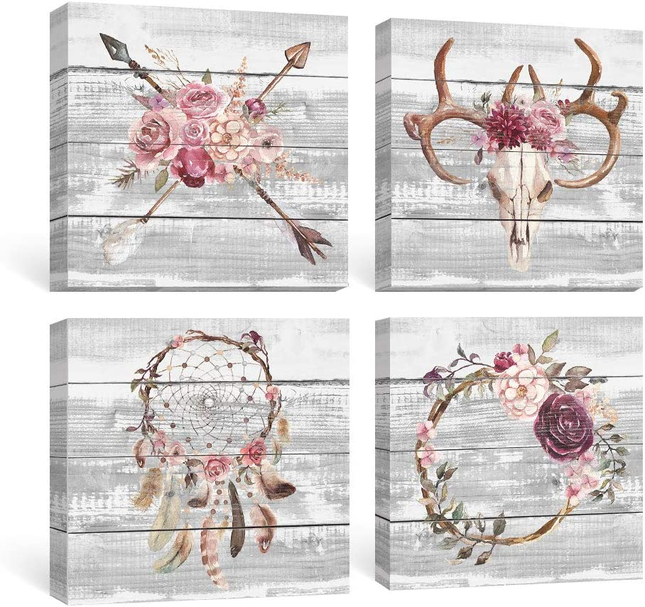 SUMGAR Boho Wall Art Bedroom Rustic Pink Flowers Pictures Farmhouse Decor Grey Bull Skull Canvas Paintings Girls Dorm Grey Floral Prints Framed Artwork Set of 4 Home, 12x12 inch