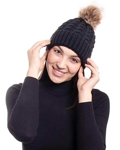 e862538b3a9 AbbyLexi Womens Slouchy Winter Knit Beanie Hats Chunky Hat Bobble Hat Ski  Cap