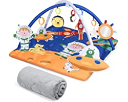 """Lupantte Extra Large 8 in 1 Baby Gym Mat 35.4""""×35.4""""Wider Space, 2 Replaceable Covers Sutiable for All Seasons, Infant Play M"""