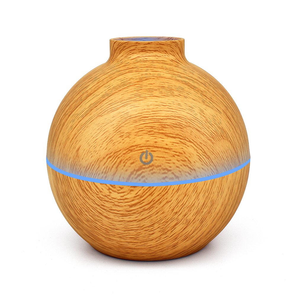 KBAYBO Humidifier Aroma Essential Oil Diffuser, 130ml Ultrasonic Cool Mist Humidifier with LED Night Light USB Humidifier For Office Home Bedroom Living Room Study Yoga Spa (Light Wood)
