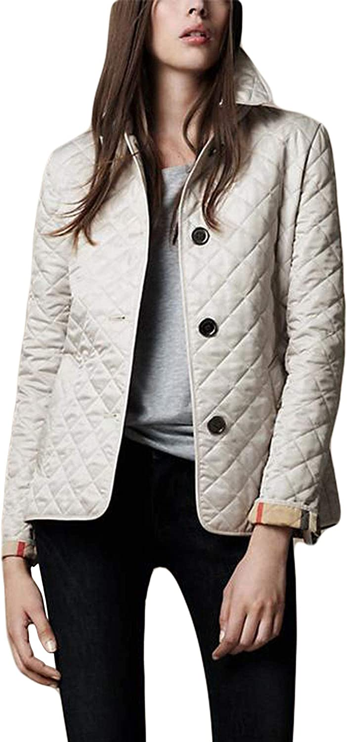 Chartou Womens Winter Insulated Checker Quilted Single Breasted Lightweight Parka Jacket
