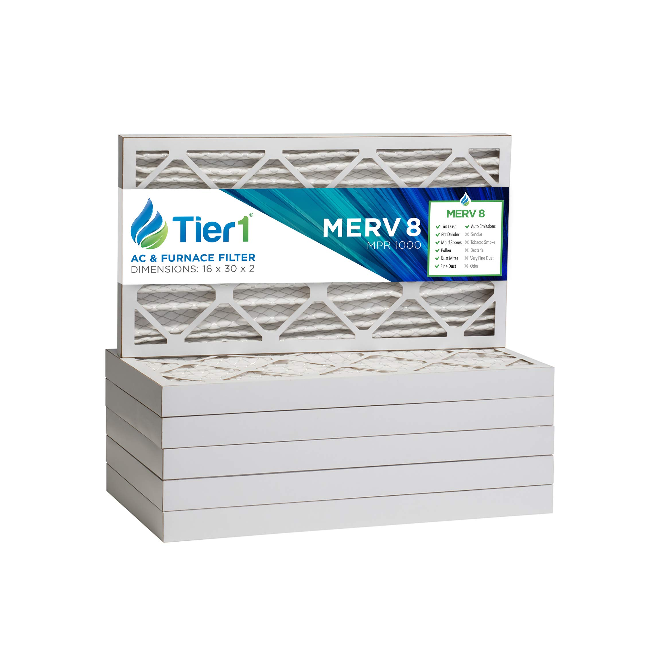 Tier1 10x20x1 Merv 8 Pleated Dust /& Pollen AC Furnace Air Filter 6 Pack