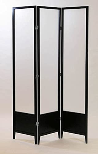Legacy Decor 3 Panel Solid Wood Screen Room Dividers w Translucent Inserts, Black Finish