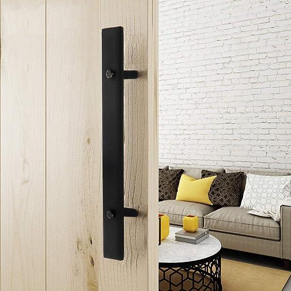 Tiradores de pomo de puerta Manija de puerta de granero grande de servicio pesado Tirador de puerta corrediza Tirador de puerta de puerta negra rústica sólida Multiuso Fácil de instalar: Amazon.es: Hogar
