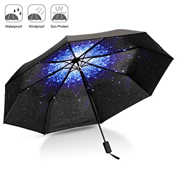 Paraguas Plegable, CAMTOA Creativo Cielo Estrellado 50+ Anti-UV Resistente al Viento Paraguas