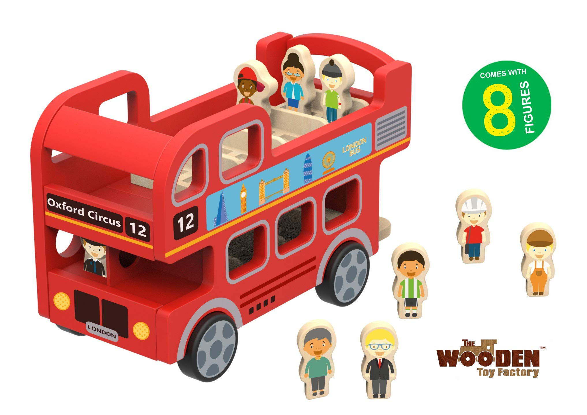 The Wooden Toy Factory - London Double Decker Red Bus - Includes *8* Figures - No Assembly Required