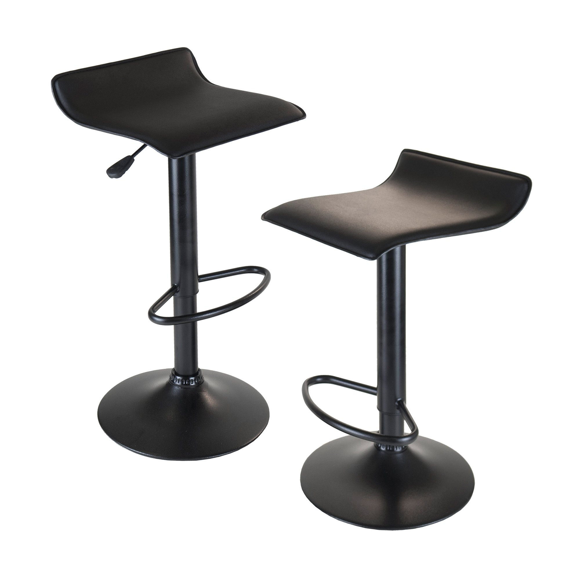 Winsome Wood Set of 2 Obsidian Adjustable Backless Swivel Air Lift Stool, PVC Seat, Black Metal Post and Base