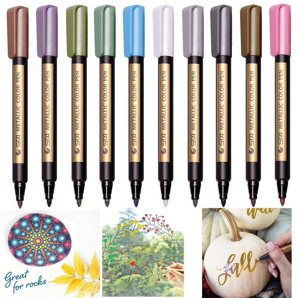 Metallic Marker Paint Pens - Beupro Metallic Color Painting Pens Art Marker Set of 10 Assorted Colors for Gift Card Making, DIY Photo Album, Rock Painting, Glass, Metal, Wood, Works on Most Surfaces