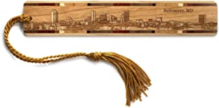 product image for Personalized Baltimore, Maryland Skyline - Engraved Wooden Bookmark with Tassel