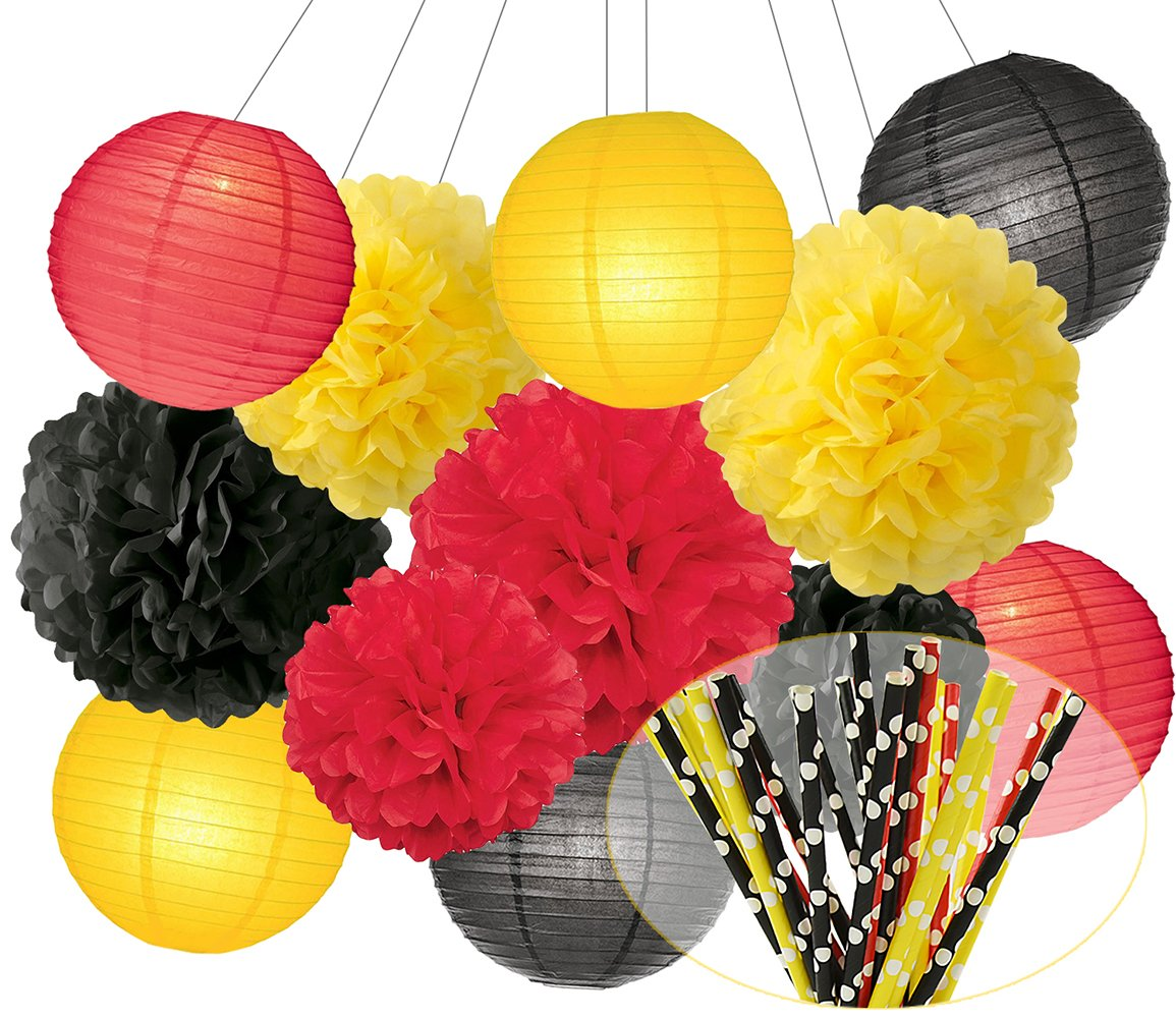 Mickey Mouse Colors Party Decorations Paper Flower Ball Tissue Paper Pom Pom Paper Lanterns Polka Dot Red Yellow Black Paper Straw for Birthday Decoration Baby Shower Decor Party Supplies