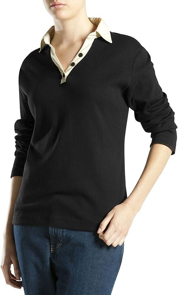 Camisa para mujer Johnny Collar, negra, Xtra peque?a: Amazon.es: Ropa y accesorios