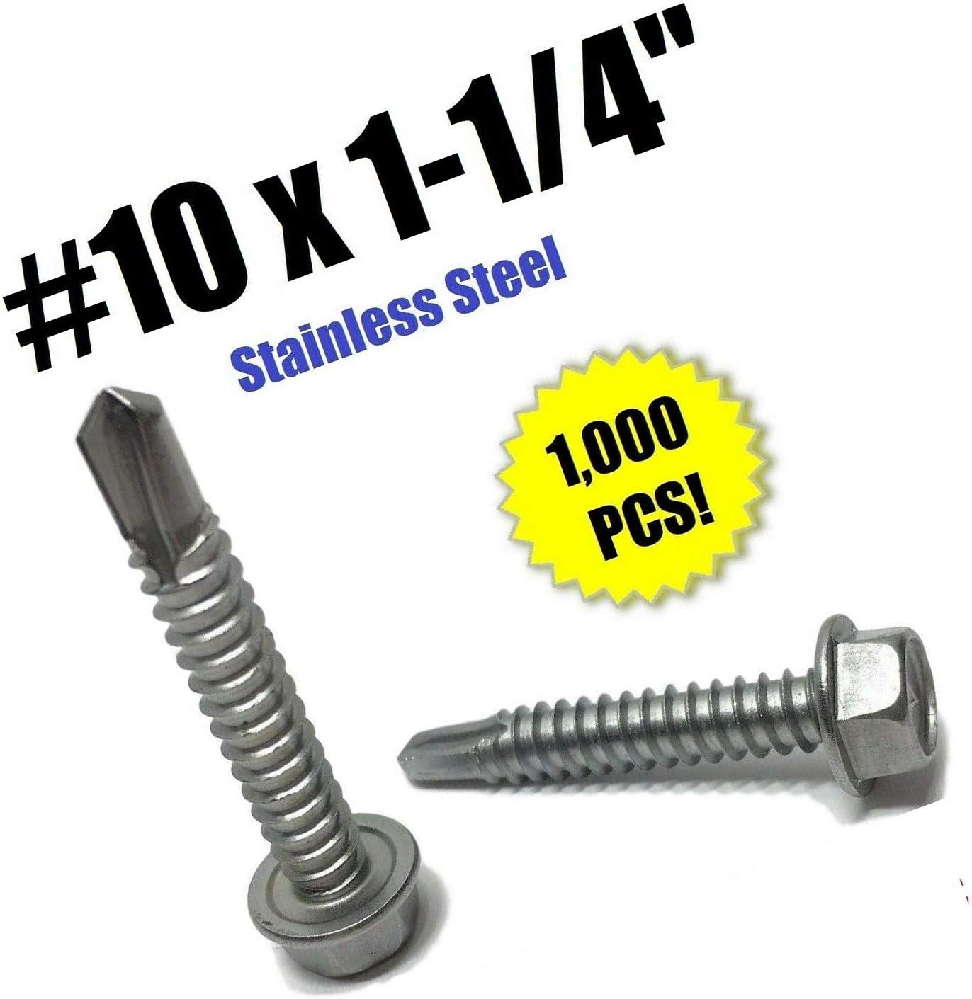 "#10 X 1-1/4"" Hex Washer Head selbst Drilling Tek Screw Stainless Steel (Qty 1000) Grade Metric Hardware Fastener Kit"