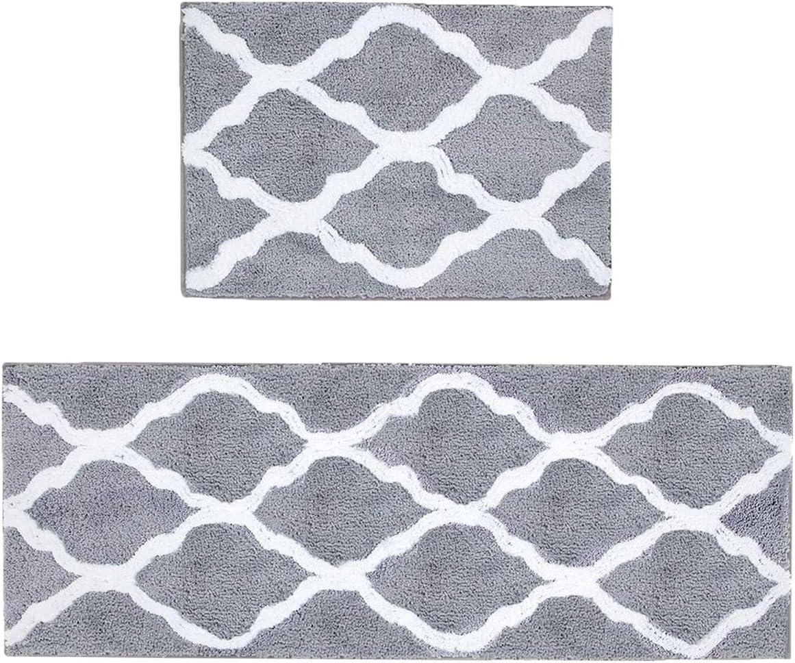 Amazon Com Pauwer Microfiber Bathroom Rug Set 2 Piece Non Slip Bath Runner Rug Sets Grey Absorbent Bath Mat Set Of 2 For Bathroom Home Kitchen