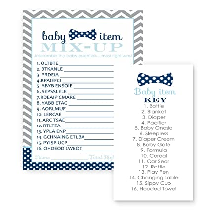 Amazon Bow Tie Baby Shower Game Word Scramble 25 Pack Navy