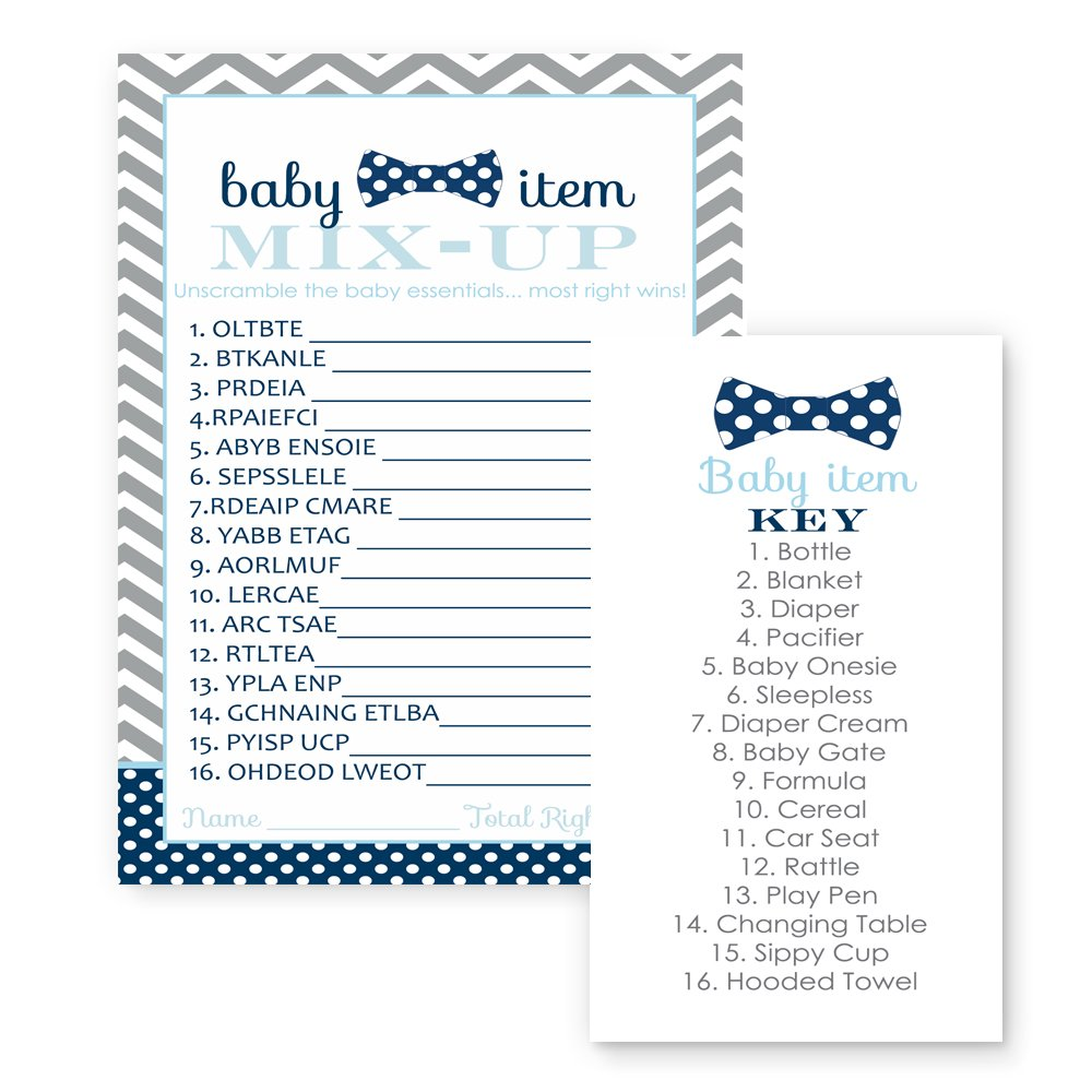 Bow Tie Baby Shower Game Word Scramble (25 Pack) Navy and Grey Chevron