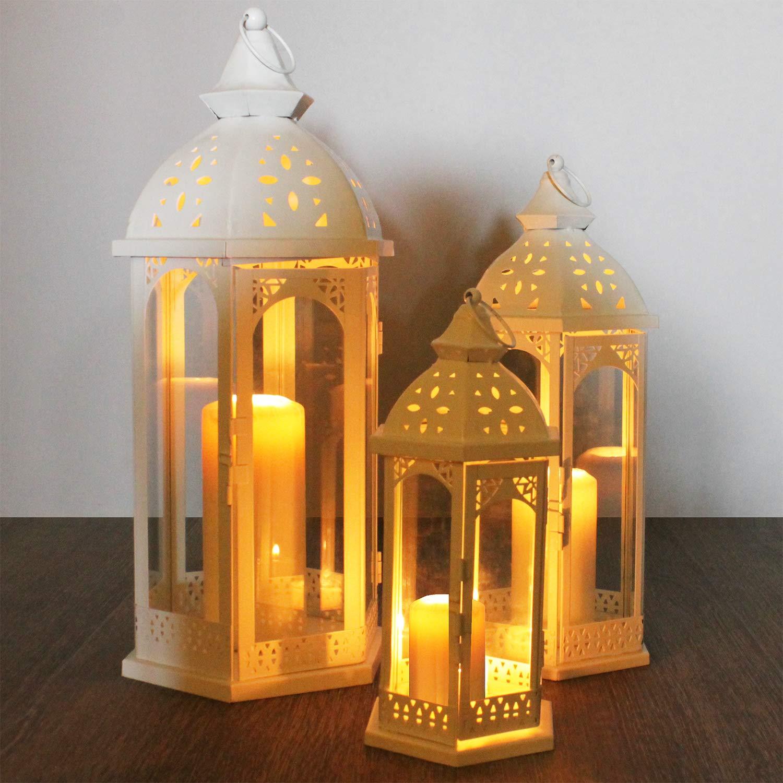 Holz Laterne mit Metalldach 40x17x17cm Gartenlaterne Holzlaterne Windlicht mit Henkel Holzgestell mit Glasfenstern Kerzenhalter Gartenbeleuchtung Dekoration