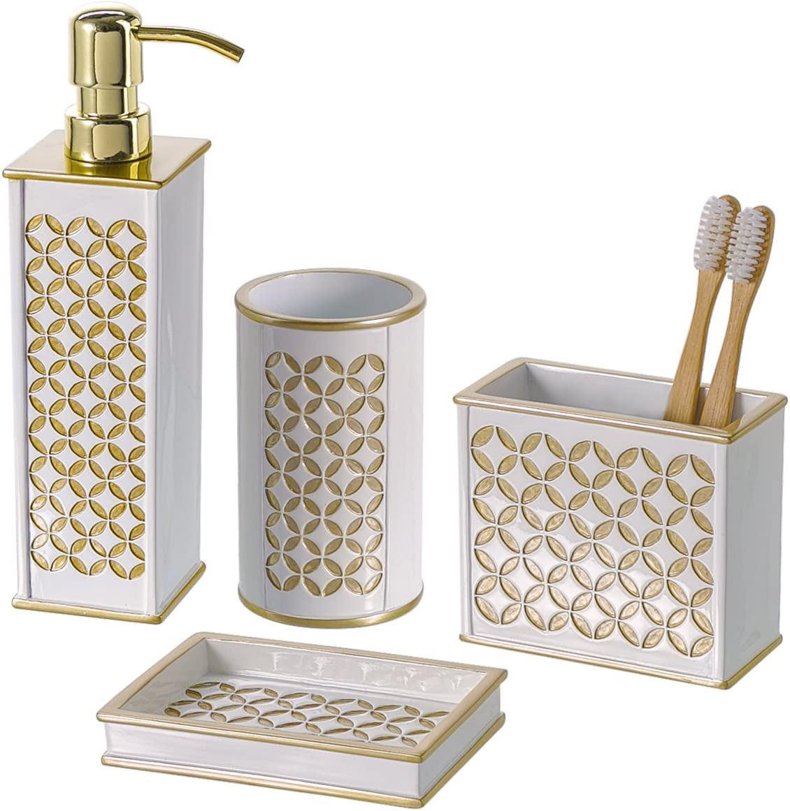 Amazon Com Creative Scents Diamond Lattice 4 Piece Bathroom Accessories Sets Includes Decorative Lotion Dispenser Dish Tumbler Toothbrush Holder Gift Packaged White Gold Home Kitchen