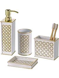 diamond lattice 4pc bath accessory sets decorative lotion dispenser dish tumbler toothbrush
