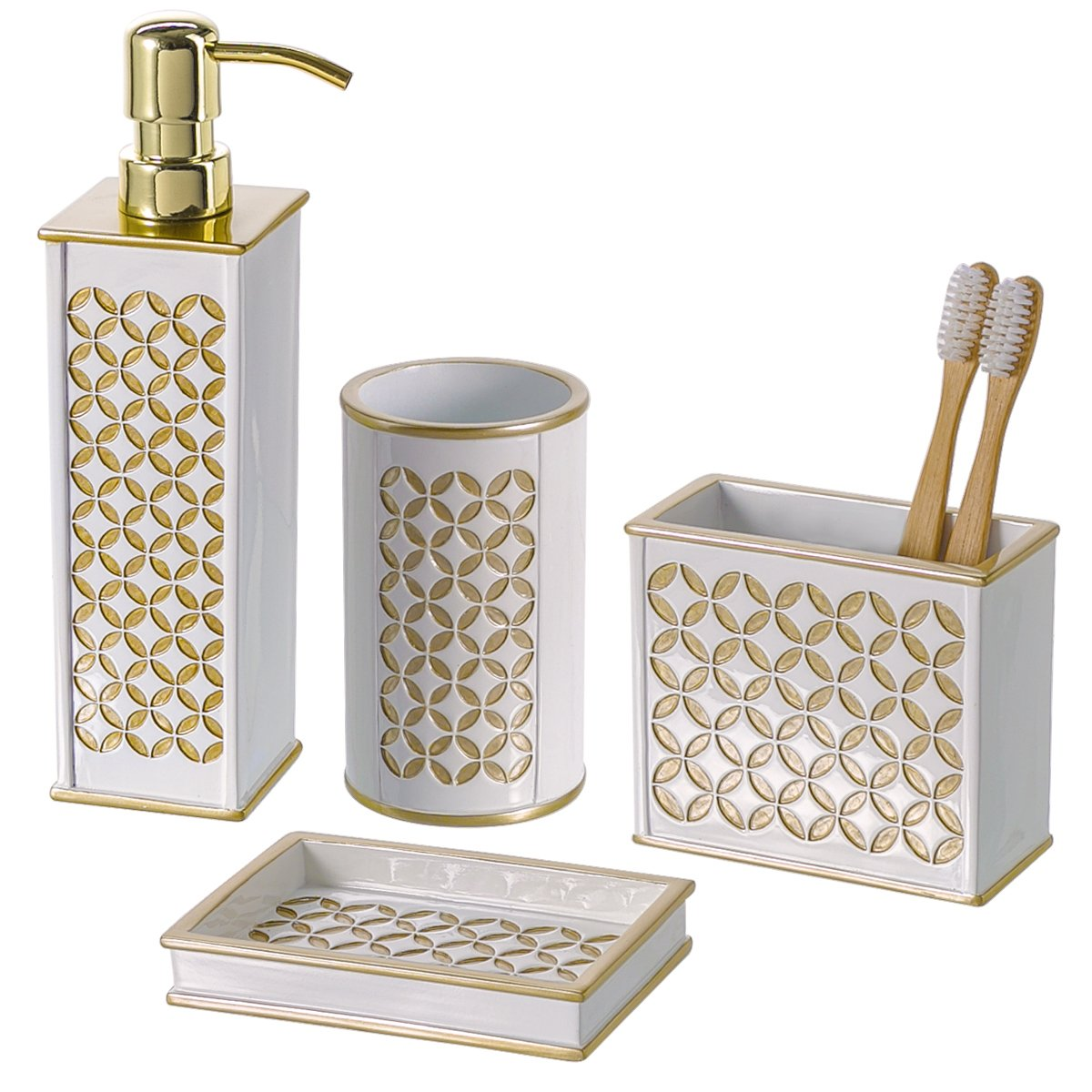 4 piece bathroom accessories set dispenser toothbrush for White and gold bathroom accessories