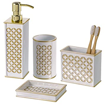 Delicieux Diamond Lattice 4Pc Bath Accessory Sets  Decorative Lotion Dispenser/ Dish/  Tumbler/ Toothbrush