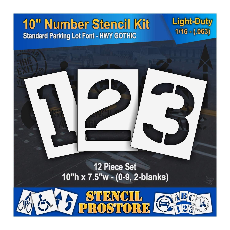 Pavement Stencils - 10 inch Number KIT Stencil Set - (12 Piece) - 10'' x 7.5'' x 1/16'' (63 mil) - Light-Duty
