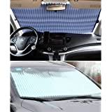 """Universal Fit Car retractable windshield sun shade for most car Trucks SUV UV Protection Front Windows SunShade Roller,Easy to install (63""""X27.6"""")"""