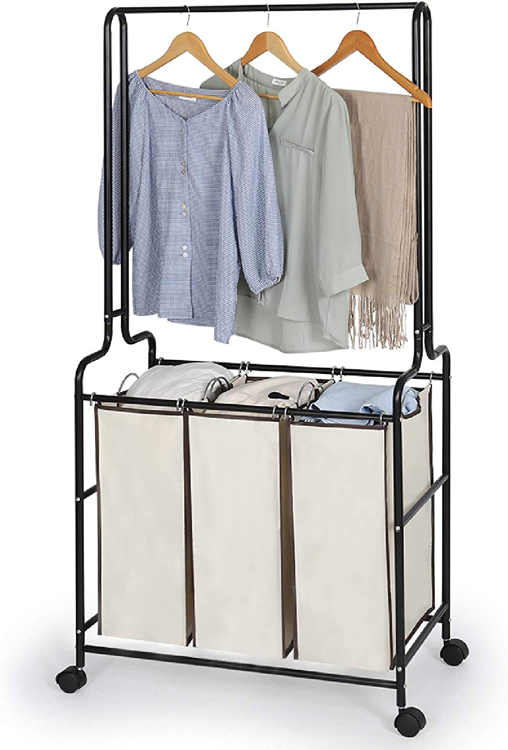 Laundry Sorter Cart Large Capacity Laundry Sorter with Hanging Bar Heavy-duty with Wheels and Removable 3 Bags Sturdy Laundry Hamper Sorter Cart with Brake Carters
