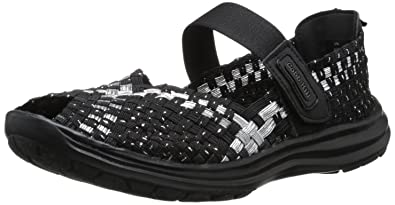 Rockport Cobb Hill Women's Wink Fisherman Sandal,Black/Silver,5 ...