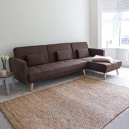 Wido 4 Seater Brown Reclining Fabric Sofabed Modular Corner ...