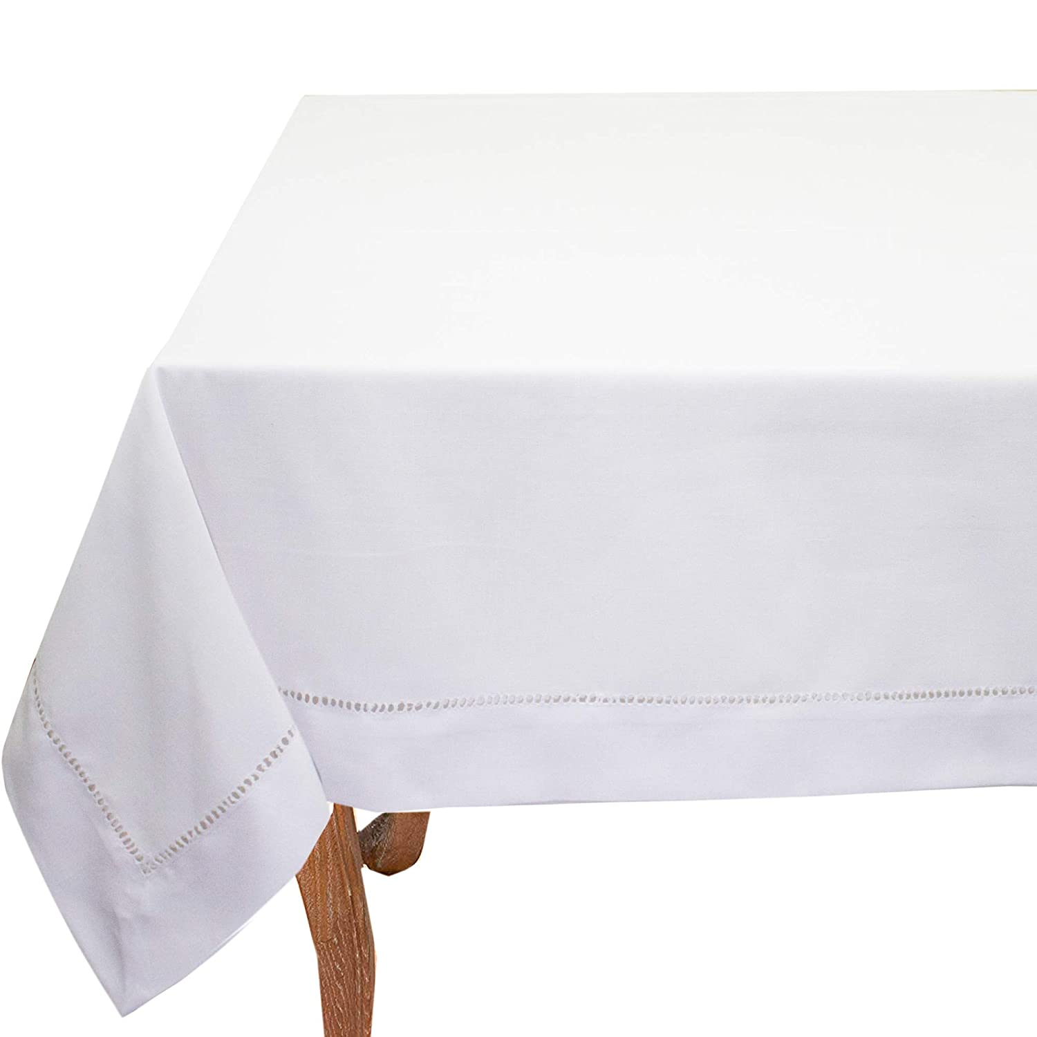 60 x 60 Inch Tablecloth Emerald Wedding Machine Washable Dinner Parties Fennco Styles Rochester Collection Classic Solid Color Hemstitched Border for Dining Table
