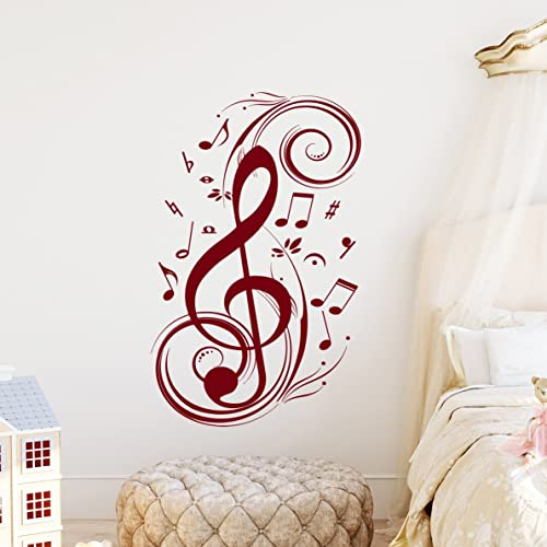 Amazon.com: Music Note Wall Decal Floral Patterns Decals Treble Clef ...