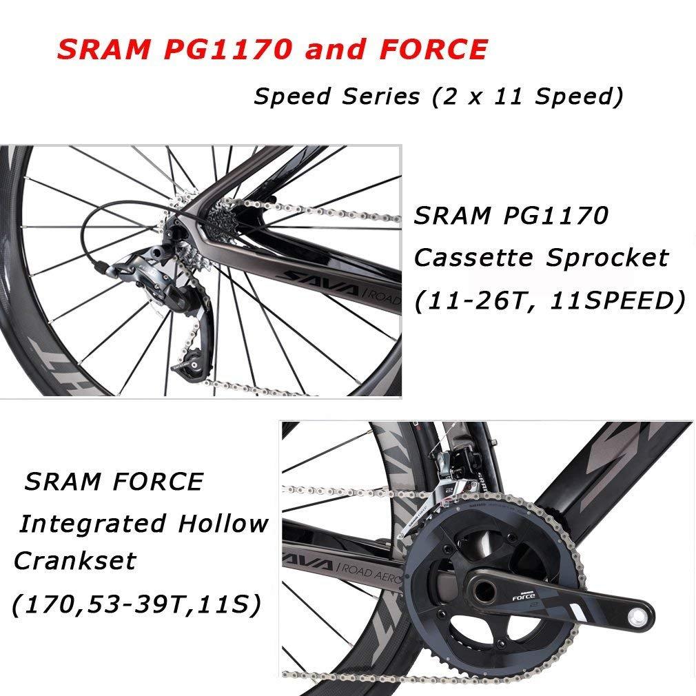 SAVADECK Phantom 5.0 700C Bicicleta de Carretera Carbon Fiber Bike con SRAM Force 22 Speed Group Set Michelin 25C Silla de Montar Tyco y Fizik