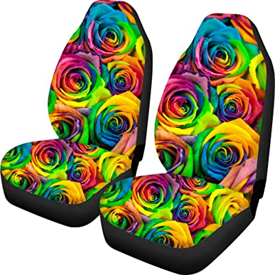 NDISTIN Floral Rose Trendy Car Seat Covers for Women Girls Vehicle Car Decoration Front Seat Protective Cover Bag Full Set of 2 Fit Most Car Truck SUC and Van: Automotive
